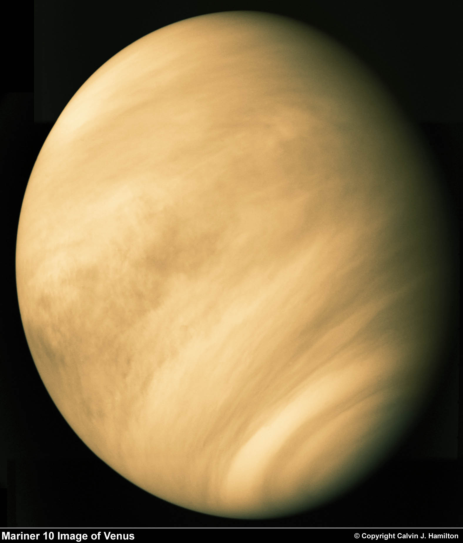 Mariner image of Venus, full disk: ircamera.as.arizona.edu/NatSci102/NatSci102/lectures/venus.htm